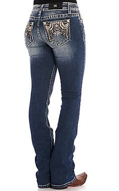 Grace in LA Women's Dark Wash with Aztec Embroidery Boot Cut Easy Fit Jeans Jeans Fit, Jeans Style, Jean Outfits, Cool Outfits, Kevlar Jeans, Embellished Jeans, Miss Me Jeans, Jeans Brands, Fashion Boots