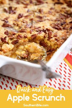 This Apple Scrunch is the ultimate apple dump cake recipe! You'll love how q… This Apple Scrunch is the ultimate apple dump cake recipe! You'll love how quick, easy, and delicious it is! It's the perfect recipe for fall! Apple Desserts, Apple Recipes, Easy Desserts, Fall Recipes, Egg Recipes, Pasta Recipes, Bread Recipes, Chicken Recipes, Apple Dump Cakes
