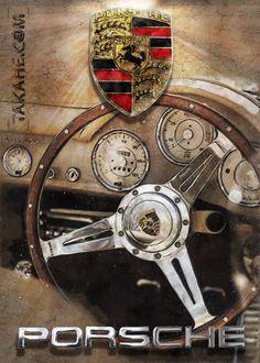 Porsche 356 cockpit • Sie können dieses Motiv auch ohne mein Copyright als hochwertigen Druck auf Metall über den Link bestellen.