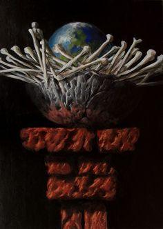 Z serii - Gniazda, akryl na płycie / Series - Nests, acrylic on board / 70x50 cm, 2013 / http://pawgalmal.blogspot.com