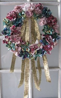 Joart - Flores: Feito por mim! Guirlanda de flores de fuxico