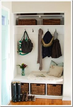 Turning a foyer closet into a mudroom | This one looks more like my coat closet.