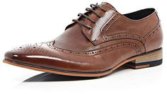 $130, Brown Leather Formal Brogues by River Island. Sold by River Island.  Click