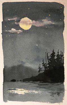 Un Dibujo Acuarela cruzando la bahía desde nuestro camping una noche en el BWCAW en MN del norte. Me encantó la forma en que la niebla sobre el agua borrosa la masa de la tierra en la distancia, pero el poder de la luna y el alambique del agua brillado a través de las nubes y el
