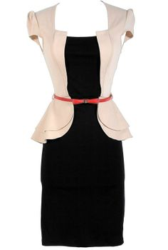Fifth Avenue Girl Black and Cream Peplum Designer Pencil Dress. Can't wait until I have a job again so I can justify buying work clothes.