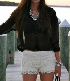 lace shorts and sheer blouse outfit