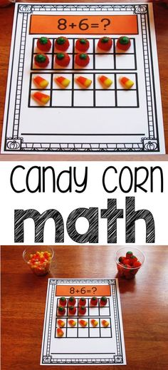 Ten frame addition using candy corn and candy pumpkins!