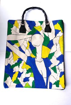 Faux Ostrich and Canvas Tote with Hand Painted by nvartewear2, $75.00