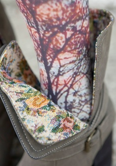 Love the surprise of finding a printed fabric on the lining of a coat or inside a boot!