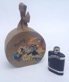 Vtg Antique Saville Mischief Miniature Perfume Bottle Vanity / Hat Box, Art Deco