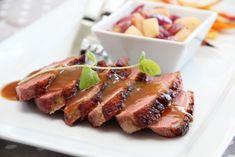 ANDEBRYST MED APPELSINSAUS | TRINES MATBLOGG Danish Food, Recipe Boards, Panna Cotta, Food And Drink, Pork, Fish, Chicken, Health, Recipes