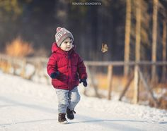 Snow walk - Cute young boy walking in the mounting, playing with leaf and snow. Boy Walking, Young Boys, Little Boys, Winter Jackets, Snow, Cute, Photography, Fashion, Baby Boys