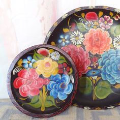 Vintage Mexican Rustic Hand Painted Floral Trays on Etsy, $49.00