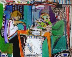 """ARTE PARA EL ESPÍRITU. ARTE PARA LA VIDA.   Jose Manel Merello.- """"La clase de pintura"""" (92 x 73 cm)  Arte contemporáneo. Pintores españoles actuales. Arte actual siglo 21. Pintura moderna. Comprar cuadros de artistas contemporaneos. México, Miami, Madrid. Arte, Lujo e Inversión.  http://www.merello.com"""