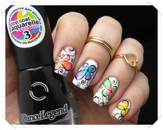 Leadlight Flowers Stamping Nail Art