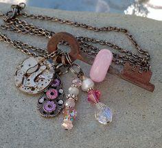 Skeleton Key Necklace Boro Lampwork Glass Beaded by Venbead, $55.00