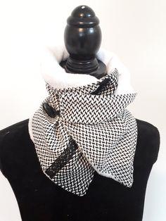 a9bb1b3d2efd Snood tour de cou femme fermeture élastique   écharpe   tour de cou    polaire noir et blanc