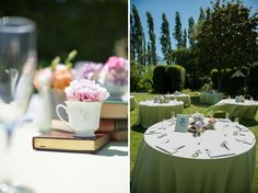 Books and teacups. From A Playful & Colourful Alice in Wonderland Wedding in California ~ UK Wedding Blog ~ Whimsical Wonderland Weddings