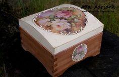 szkatułka, decoupage, kwiaty, retro, vintage