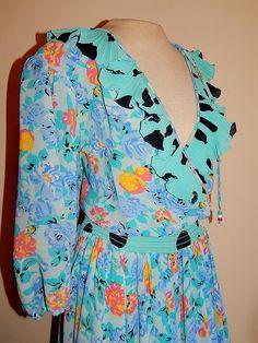 Vintage 80's Aqua Floral Polka Dot Gypsy Assorti SUSAN FREIS Cocktail Dress #SusanFreis