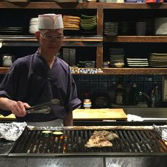 This lively very professional chef at The robata bar has such pride for the products he grills