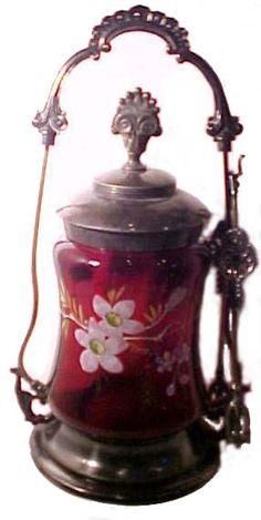 Pickle Castor Brides Basket, Pickle Jars, Old Bottles, Oil Lamps, Glass Jars, Pickles, Tea Pots, Antiques, Tableware