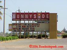 Sunnyside Drive-In entrance sign, Fresno, CA. The theatre has since been demolished. Only the lot remains. Photo credit: Roadsidepeek.com