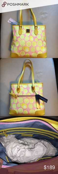 """Dooney & Bourke Limone Richmond Shopper I love my Poshers! However, low ballers will be ignored. All my purses are brand new unless otherwise specified. Make reasonable offers because you will not find a better deal on Dooney's anywhere else. I sell on other sites but always give my Poshers the best deals. H 10.25"""" x W 3.75"""" x L 12.75"""" One outside zip pocket. One inside zip pocket. Two inside pockets. Cell phone pocket. Inside key hook. Lined. Zipper closure. Strap drop length 10.75"""". Dooney…"""