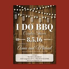 I Do BBQ Couples Shower Invitation, Couples Shower Invite, Rustic Bridal Shower Invite: printable, custom. Wood background.  This listing is for a PRINTABLE single-sided invitation for you to print at home or print through a print shop. This card comes as 5x7 or 6x4. Everything is sent through email only for you to print yourself. Nothing will be shipped to you, so no more waiting or paying for the post!  How to customize:  Please list during checkout: NAMES OF COUPLE GETTING MARRIED NAMES…