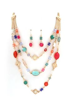 Beverly Necklace in Turquoise Mix on Emma Stine Limited