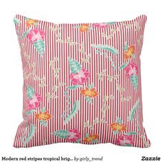 Modern red stripes tropical bright floral pattern throw pillow