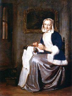 The Athenaeum - A Woman Making Lace (Gabriël Metsu - )