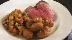 Roast beef with ratatouille and potatoes # . Good Healthy Recipes, Healthy Food, Roast Beef, Steak, Bbq, Curry, Dinner Recipes, Potatoes, Chicken