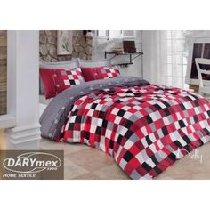pixel Red white grey  & black cotton bedlinen, A vivid and unique colors and a variety of trendy designs ensures that the bedding will be a great addition to any modern interior. more on darymex.com