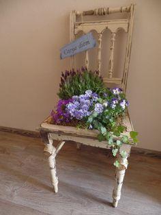 Een oude stoel voorzien van tuinplanten...en een tekstbordje..