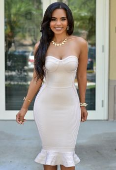 Chic Couture Online - Kendall Nude Strapless Midi Luxe Bandage Dress, $180.00 (http://www.chiccoutureonline.com/kendall-nude-strapless-midi-luxe-bandage-dress/?page_context=category