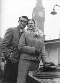 "Ingrid Bergman and Cary Grant during the filming of ""Indiscreet""."