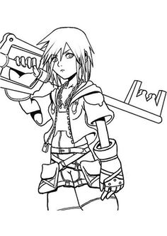 Kingdom hearts coloring page printable video game color for Kingdom hearts printable coloring pages
