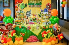 Posts about plant vs zombie written by Sweets Delight Zombie Birthday Parties, Zombie Party, Birthday Party Themes, Boy Birthday, Birthday Ideas, Plants Vs Zombies, Plantas Versus Zombies, Plant Zombie, Birthday Backdrop