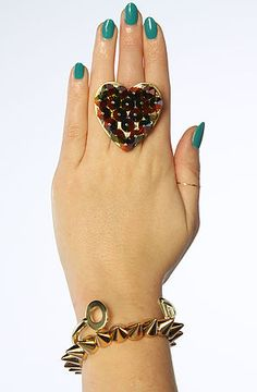 The Gasoline Glamour Ring Small Spiked Heart in Rainbow #MissKL #MissKLCoachella