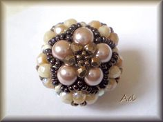 Free PDF for Beaded Bead with Pearls.  #Seed #Bead #Tutorial