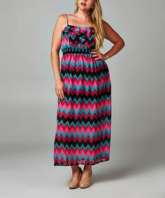Look at this Christine V Pop Flame Chevron Ruffle Maxi Dress - Plus on #zulily today!