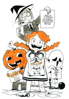 Inktober day 04 : spell Spell classroom with. Halloween Illustration, Illustration Sketches, Character Illustration, Studio Ghibli, Magia Elemental, Character Art, Character Design, Person Drawing, Anime Halloween