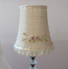 Vintage Ribbonwork Clip-on Lamp Shade, Vintage Cream and Pink Lamp Shade, Boudoir Lamp Shade, French Country, Shabby Chic by TheVintageOpenGate on Etsy