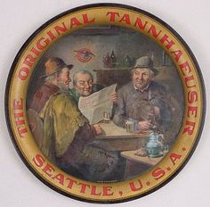 Vintage - Claussen Brewing Association of Seattle - Washington - USA - ''Old Friends'' - Tray - 1910
