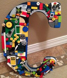Lego Letter Art - Would be cute for boys bedroom/playroom