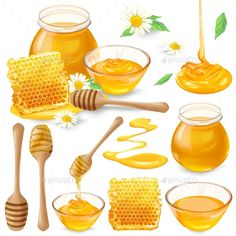 Buy Set of Vector Illustrations of Honey in Honeycombs by vectorpocket on GraphicRiver. Set of vector illustrations of honey in honeycombs, in a jar dripping from a honey bucket, isolated on a white backgr. Adobe Illustrator, Clipart, Cartoon Bee, Food Banner, Nature Vector, Food Concept, Bee Art, Honeycomb Pattern, Food Drawing
