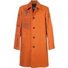 Yang Li single breasted coat ($1,695) ❤ liked on Polyvore featuring men's fashion, men's clothing, men's outerwear, men's coats, orange, mens single breasted pea coat and mens orange coat