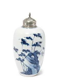 A blue and white 'Prunus and Bamboo' vase, Kangxi period (1662-1722)