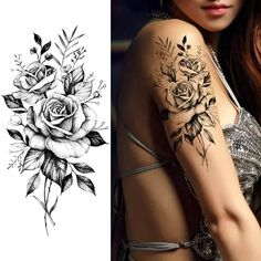 Quality Purple Rose Jewelry Water Transfer Tattoo Stickers Women Body Chest Art Temporary Tattoo Girl Waist Bracelet Flash Tatoos Flower with free worldwide shipping on AliExpress Mobile Upper Arm Tattoos, Leg Tattoos, Body Art Tattoos, Girl Tattoos, Tatoos, Henna Tattoos, Arm Tattoos For Women Upper, Tattoos For Girls, Waist Tattoos